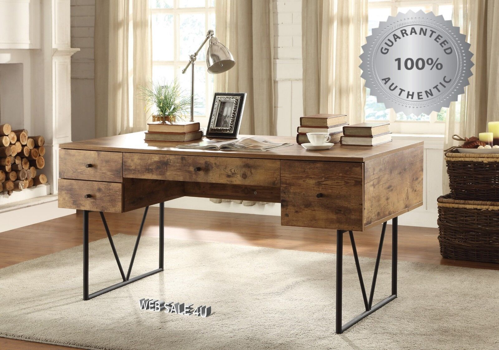 Writing Desk Drawers Vintage Industrial Style Table Rustic Modern Farmhouse Wood For Sale Online