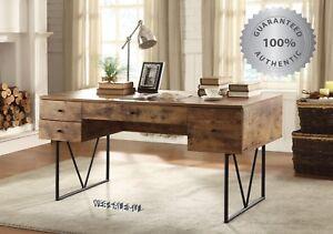 Writing Desk Drawers Vintage Industrial Style Table Rustic Modern