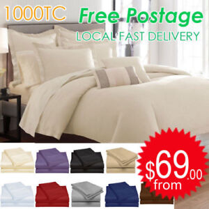 All-Size-1000TC-Egyptian-Cotton-Sheet-Set-Flat-Fitted-Pillowcases-or-Quilt-Cover