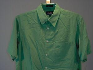 Club-Room-Macys-Silk-Short-Sleeve-Shirt-Green-L-Men-039-s-Clothing-New-NWT