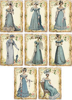 Vintage Jane Austen Blue Gowns small note cards tags ATC altered art set of 8