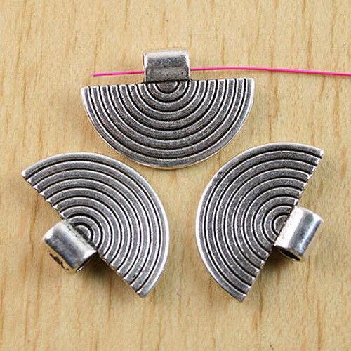 10Pcs Tibetan Silver Demi-cercle Charm Findings h0294