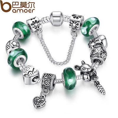 New Women DIY European Tibetan Silver Charms Animal Bracelets With Green Beads
