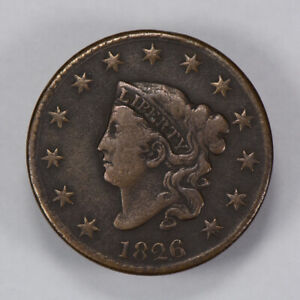 1826-1c-CORONET-HEAD-LARGE-CENT-EXCELLENT-DETAIL-EARLY-COPPER-COIN-LOT-N440