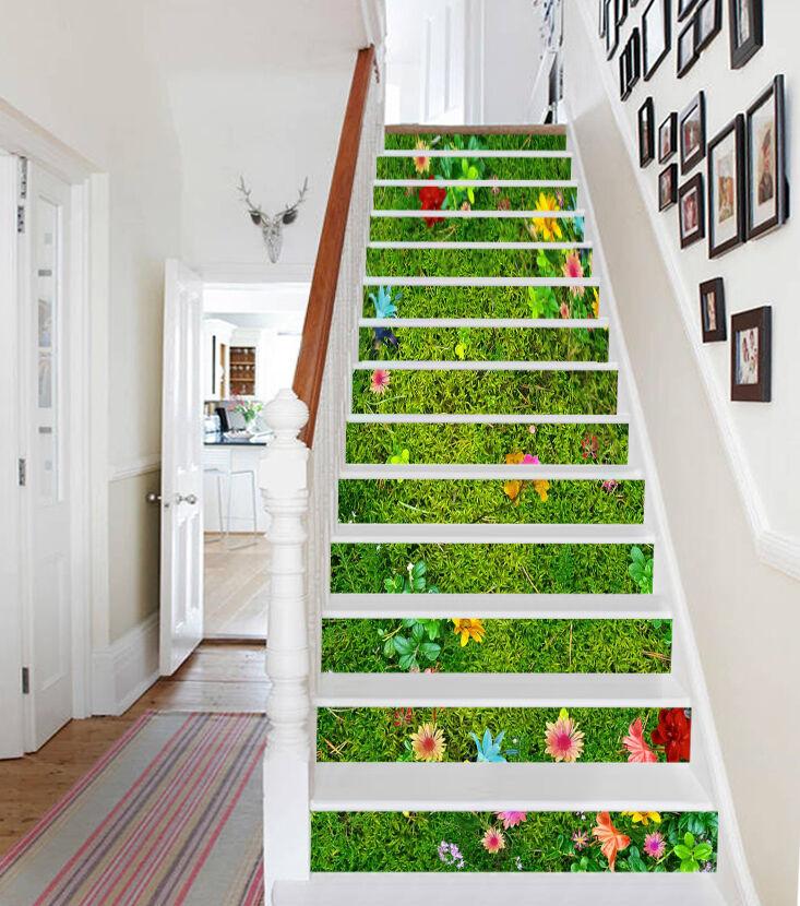 3D Grün lawn 7 Stair Risers Decoration Photo Mural Vinyl Decal Wallpaper UK