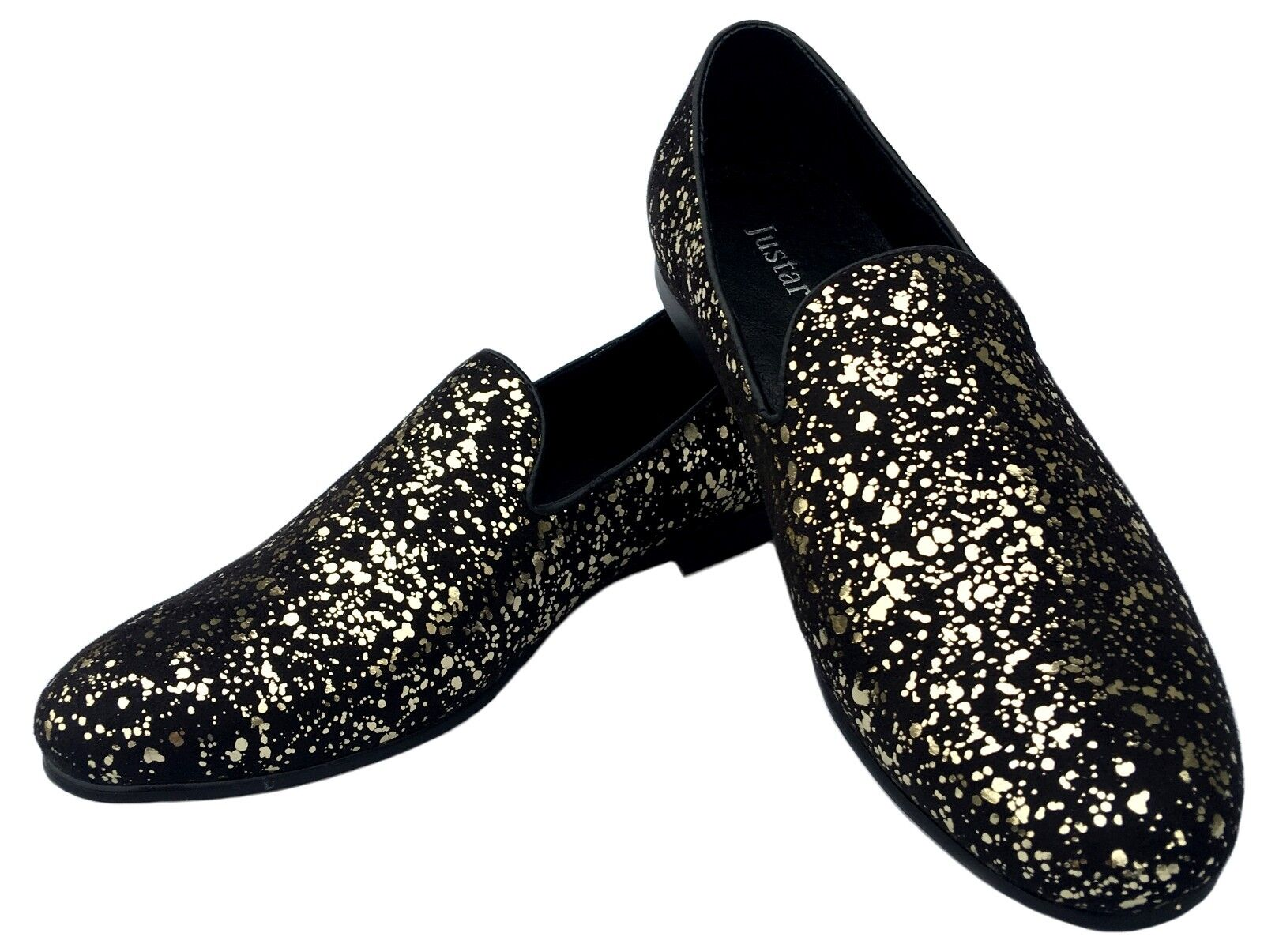 Justar Men's gold Metallic Loafers Slip-On Dress shoes Smoking Slippers Flats