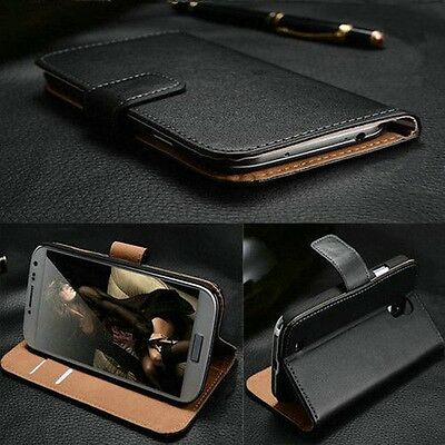 NEW Luxury Genuine Real Leather Flip Case Wallet Cover For Samsung Galaxy Apple