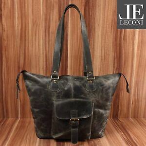 Used Leconi wax Echt Le0052 Look Dames Shopper leer Schoudertas Grey vN0w8OnymP