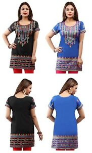Unifiedclothes-FASHION-INDIAN-KURTA-SHORT-SLEEVES-KURTI-TUNIC-TOP-SHIRT-171AB