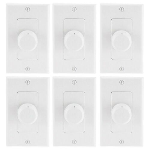 6 Pcs Audio System Wall Mount Rotary Home Speaker Volume Controller 50W White
