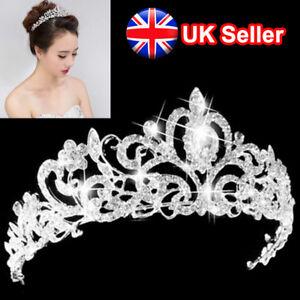 Image is loading  Princess-Silver-Wedding-Bridal-Crystal-Rhinestone-Prom-Hair- f112291d838
