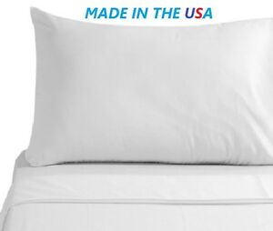 1 NEW WHITE T250 PREMIUM PILLOW CASES STANDARD/QUEEN 20X32 AMERICAN MADE