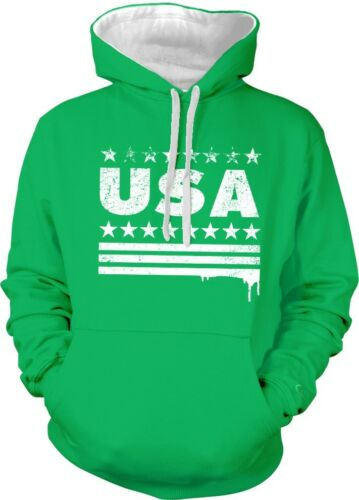 Vintage USA Stars and Stripes United States of America 2-tone Hoodie Pullover
