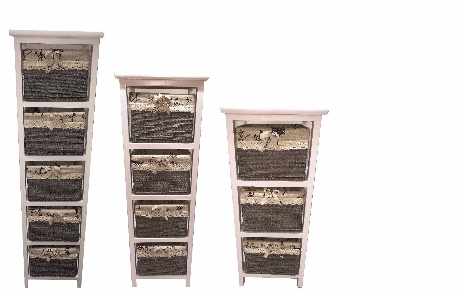 New Slim 3 4 5 Drawer Maize Basket White Wood Cabinet Storage Organiser Bathroom
