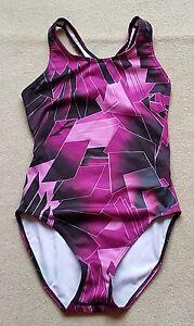 ACCLAIM-Ladies-Swimming-Costume-UK-10-St-Tropez-Dark-Pink-Black-Print