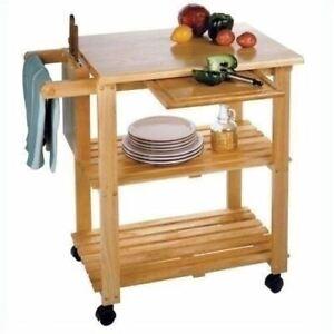 Beech Wooden Utility Cart Rolling Kitchen Storage Trolley Microwave Shelf Island Ebay