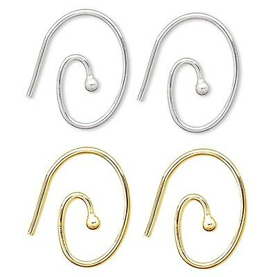 Lot of 10 Round Swirl Hoop 19 Gauge Wire Earring Findings With Ball Plated Brass