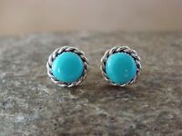 Small Native American Indian Jewelry Sterling Silver Turquoise Post Earrings