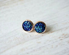 ROSE GOLD SPARKLING DRUZY RESIN PEACOCK BLUE ROUND CLIP ON STUD EARRINGS 12MM
