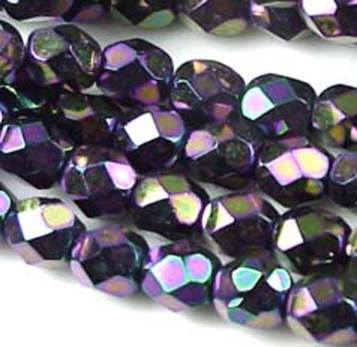 25 Firepolish Czech glass Round  Iris - Purple 6mm