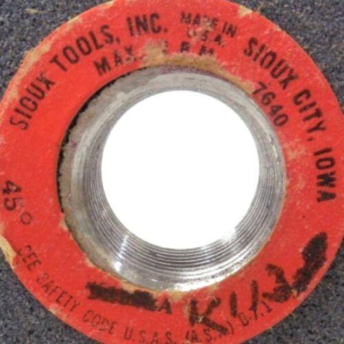 "2-7//8/"" DIAMETER 7//8/"" THREADED ARBOR SIOUX GRINDING WHEEL K-113 7640 RPM"