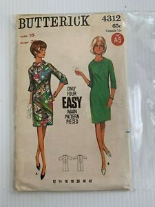 Vintage-Butterick-Patron-de-Costura-4312-Facil-Diseno-Piezas-Sz-18-B-96-5cm