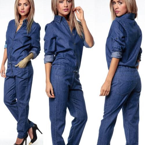 Womens Denim Clubwear Long Pants Playsuit Bodycon Party Jumpsuit/&Romper Trousers
