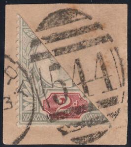 1887-JUBILEE-SG200-2d-GREEN-amp-CARMINE-RARE-BISECT-ON-PIECE-NEWBURY-BERKSHIRE