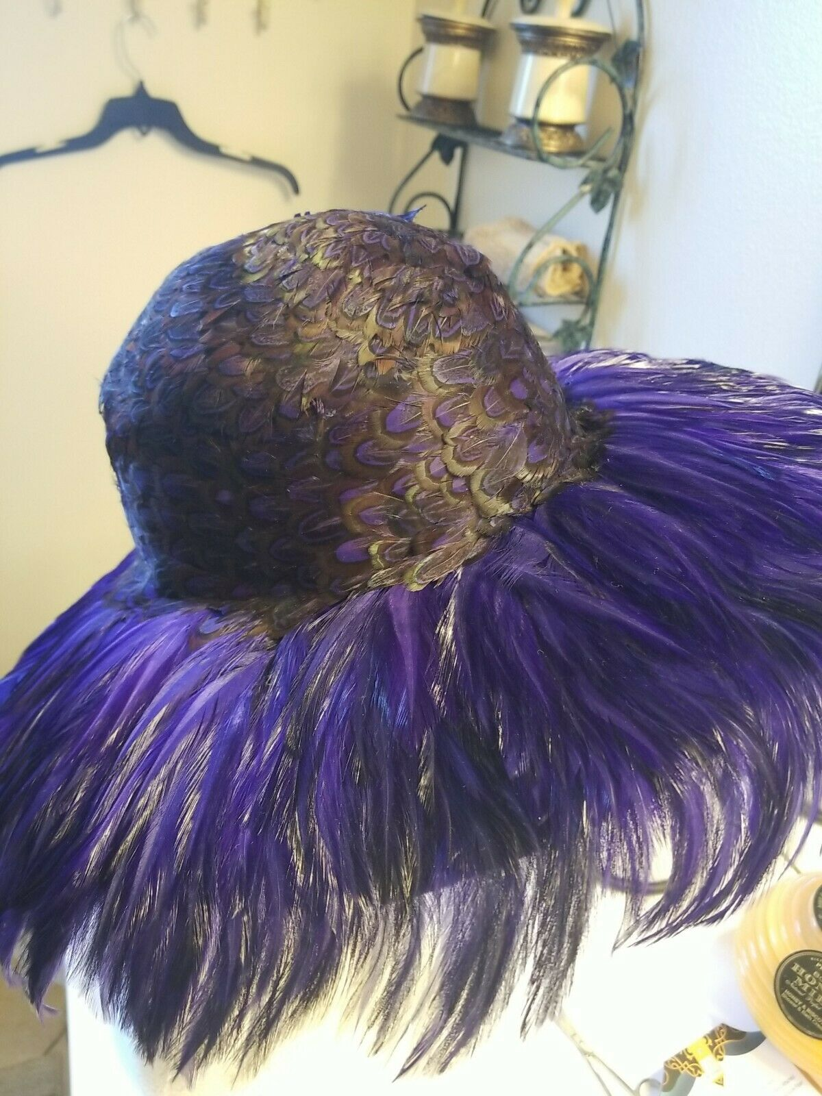 2 Vintage Jack McConnell Hat Feathers Purple. Drk Green pheasant.1 purple R-St
