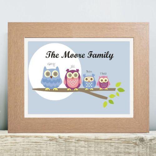 Owl Family Tree Print Personalised Housewarming Gift