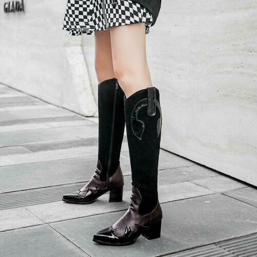 2019 Occident Stylish Womens Pointed Toes Block Heels Knee High Boots Shoes