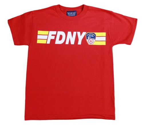 Fdny Kids Short Sleeve Screen Print 200 feet back T-Shirt Red NYFD New York Fire