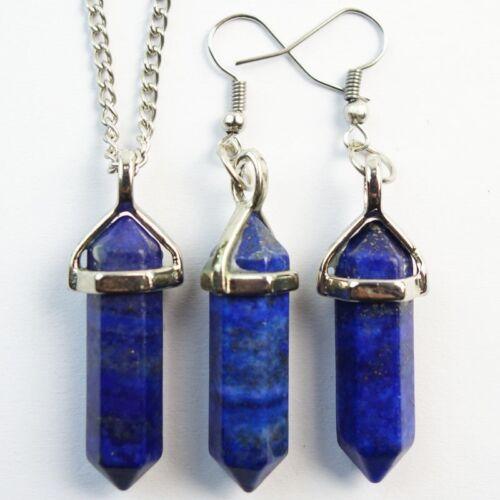 Fashion lapis lazuli pendule Boucle d/'oreille /& Collier SET JC729