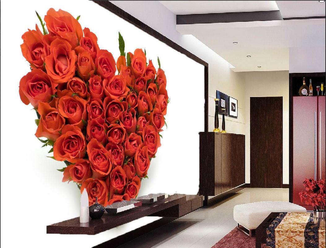 3D Herzförmige Rote Rose 85 Tapete Wandgemälde Tapete Tapeten Bild Familie DE