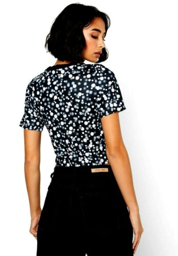 Nike Womens Sportswear Floral Print Heritage Crop Cropped Top Black White Turq
