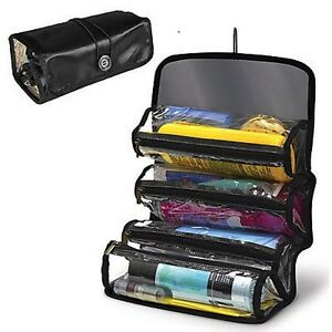 Roll Up Organizer Storage 3 Compartments Makeup Case Travel toiletry ... 7c9933774f731