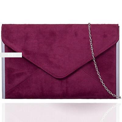 Daim Bordeaux Mariage Femmes Soirée Sac à Main Pochette Porte-Monnaie Envelop à