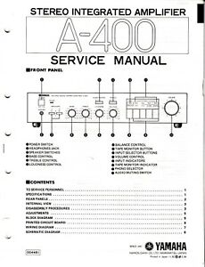 Details about Original Yamaha A-400 Integrated Amp Service Manual w on