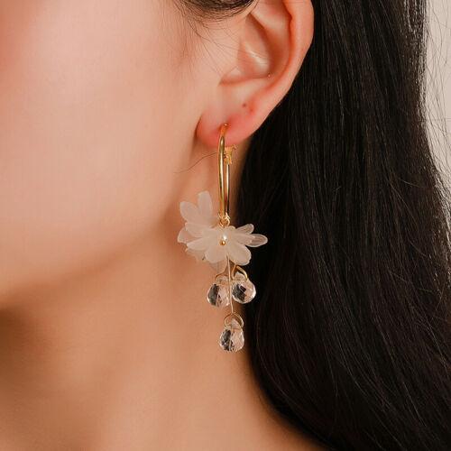 Women Flower Earring Rhinestone Long Tassels Drop Hook Dangle Earrings LA