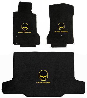 LLOYD MATS Velourtex™ 3pc FLOOR MAT SET 2005-2013 C6 *Yellow Jake/CORVETTE logos
