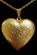 LARGE REAL 18K GOLD FILLED HEART LOCKET PENDANT WITH NECKLACE + FREE GIFT BAG