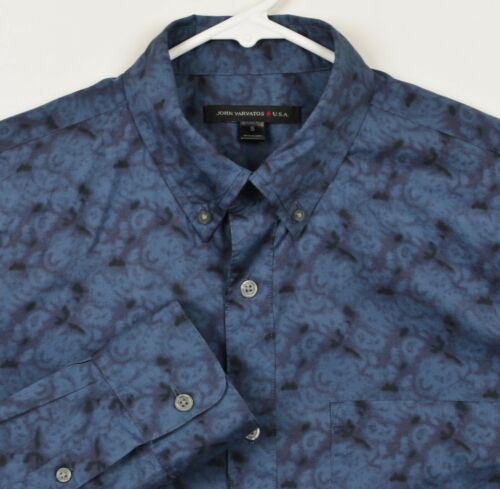 John Varvatos USA Men's Sz Small Blue Swirl Geomet