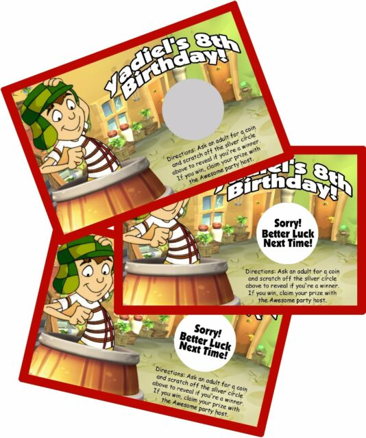 EL CHAVO PERSONALIZED SCRATCH OFF OFFS PARTY GAME GAMES CARDS