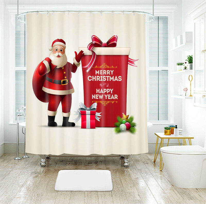 3D Christmas Xmas 20 Shower Curtain Waterproof Fiber Bathroom Home Window Toilet