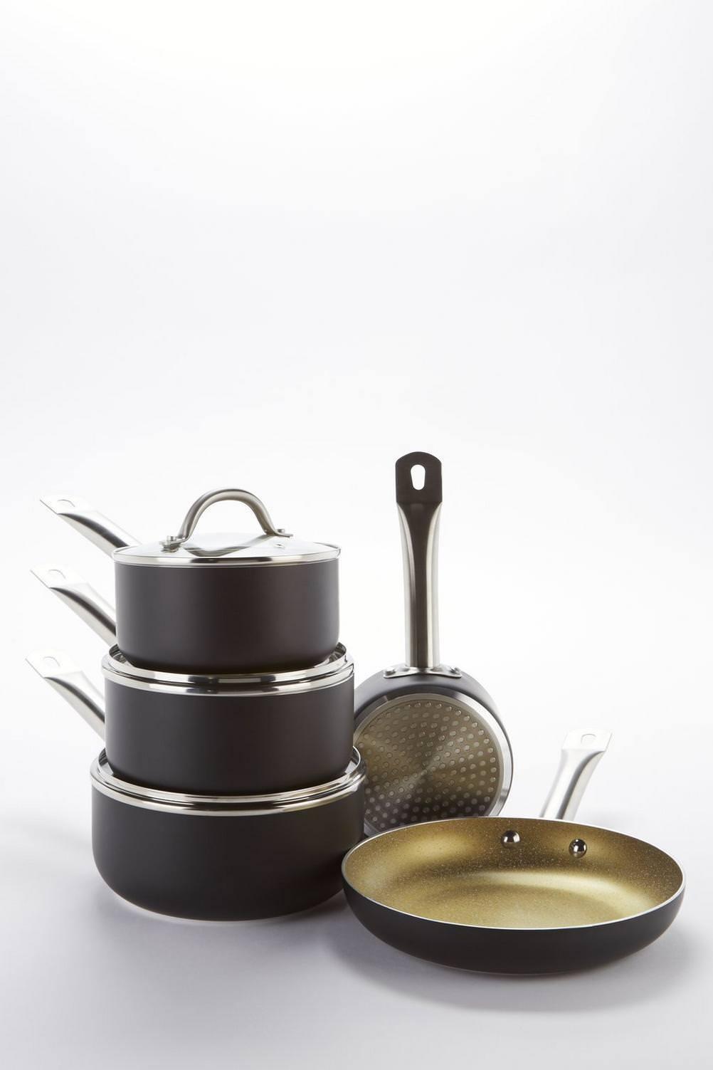 5 pezzi Nera e oro Pan Set