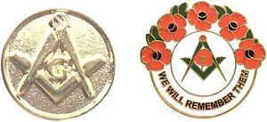 Rund Quadratisch & Kompass Vergoldet Abzeichen + Freimaurer We Will Remember