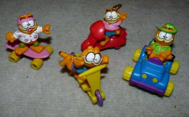 Vintage 1989 McDonald's Garfield Happy Meal Toys ~ Complete Set of 4