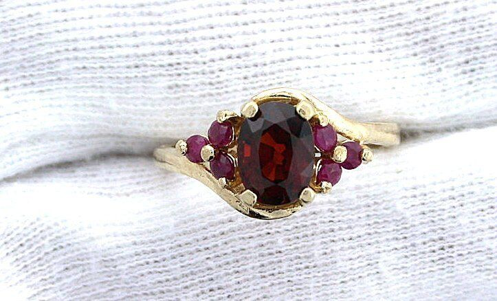 14Kt REAL Yellow gold Spessartite Garnet Ruby Gem Stone Gemstone Ring Size 7