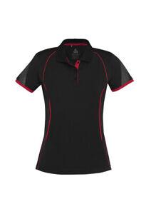Biz Collection Ladies Short Sleeve Razor Polo Shirt Size 10 P405LS Black Red