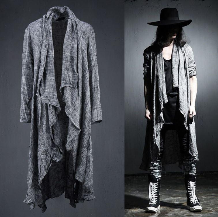 Men's Linen Cotton Long Sleeves Cape Loose Coat Gothic Drape Stonewashed cloak